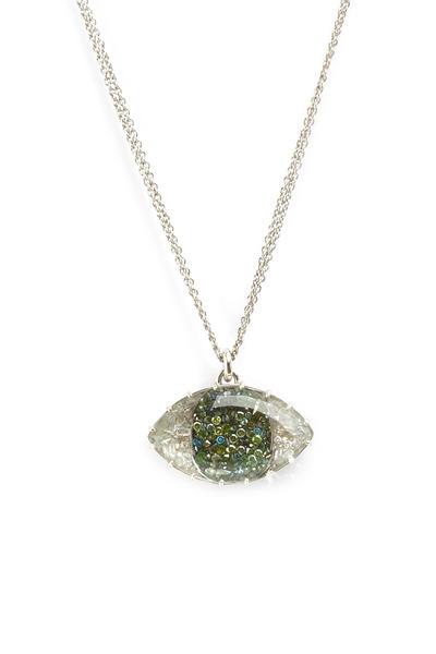 Renee Lewis - White Gold Green & White Diamond Evil Eye Necklace