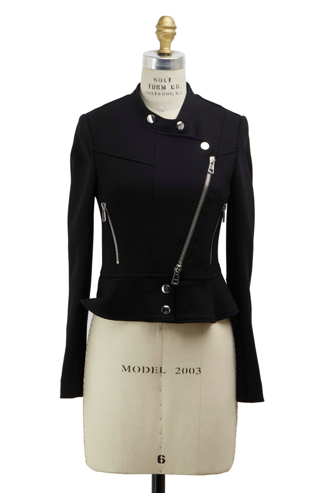 Mila Black Wool Peplum Jacket