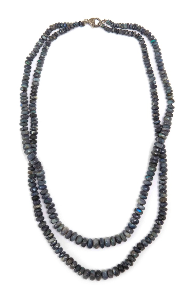 Sterling Silver Two Strand Opal Bead Necklace