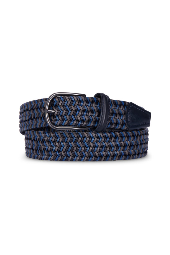 Anderson's Blue & Grey Stretch Leather Woven Belt