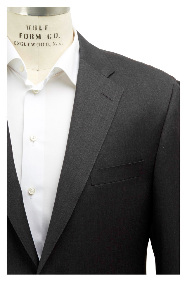 Gable Solid Charcoal Gray Worsted Wool Suit