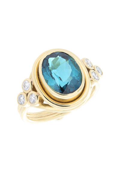 Temple St. Clair - 14K Yellow Gold Tourmaline & Diamond Ring
