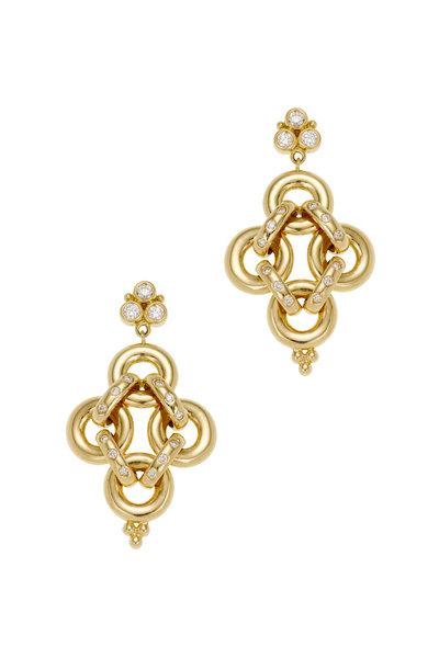 Temple St. Clair - 18K Yellow Gold Diamond Jean D'Arc Link Earrings