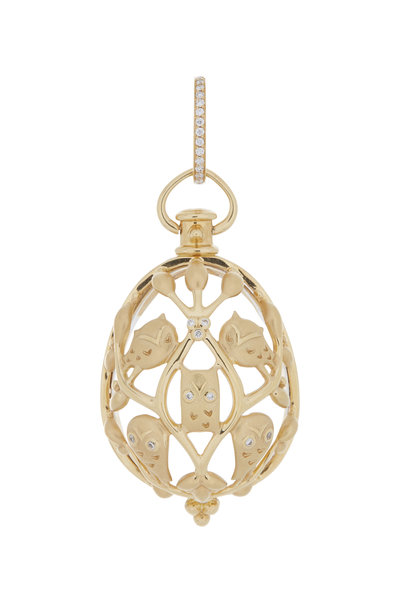 Temple St. Clair - 18K Yellow Gold Crystal & Diamond Owl Amulet
