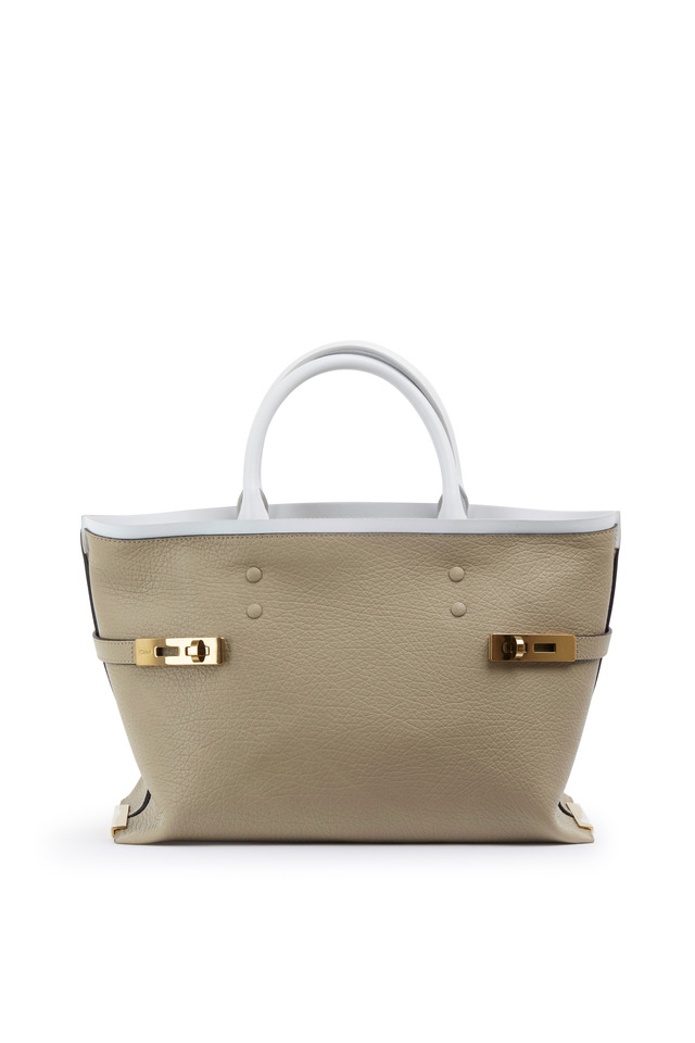 Charlotte Beige Leather Turnlock Tote