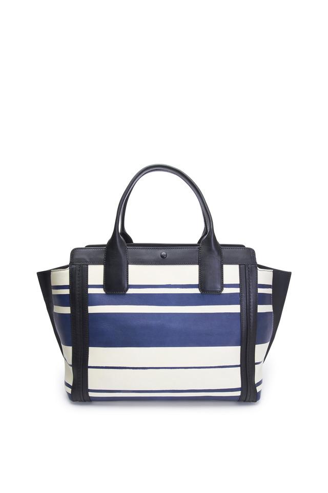 Alison Blue & White Striped Leather Tote