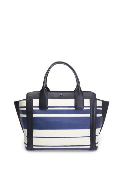 Chloé - Alison Blue & White Striped Leather Tote