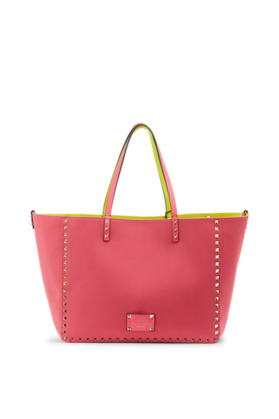 Valentino Garavani - Rockstud Fuchsia & Yellow Canvas Medium Tote
