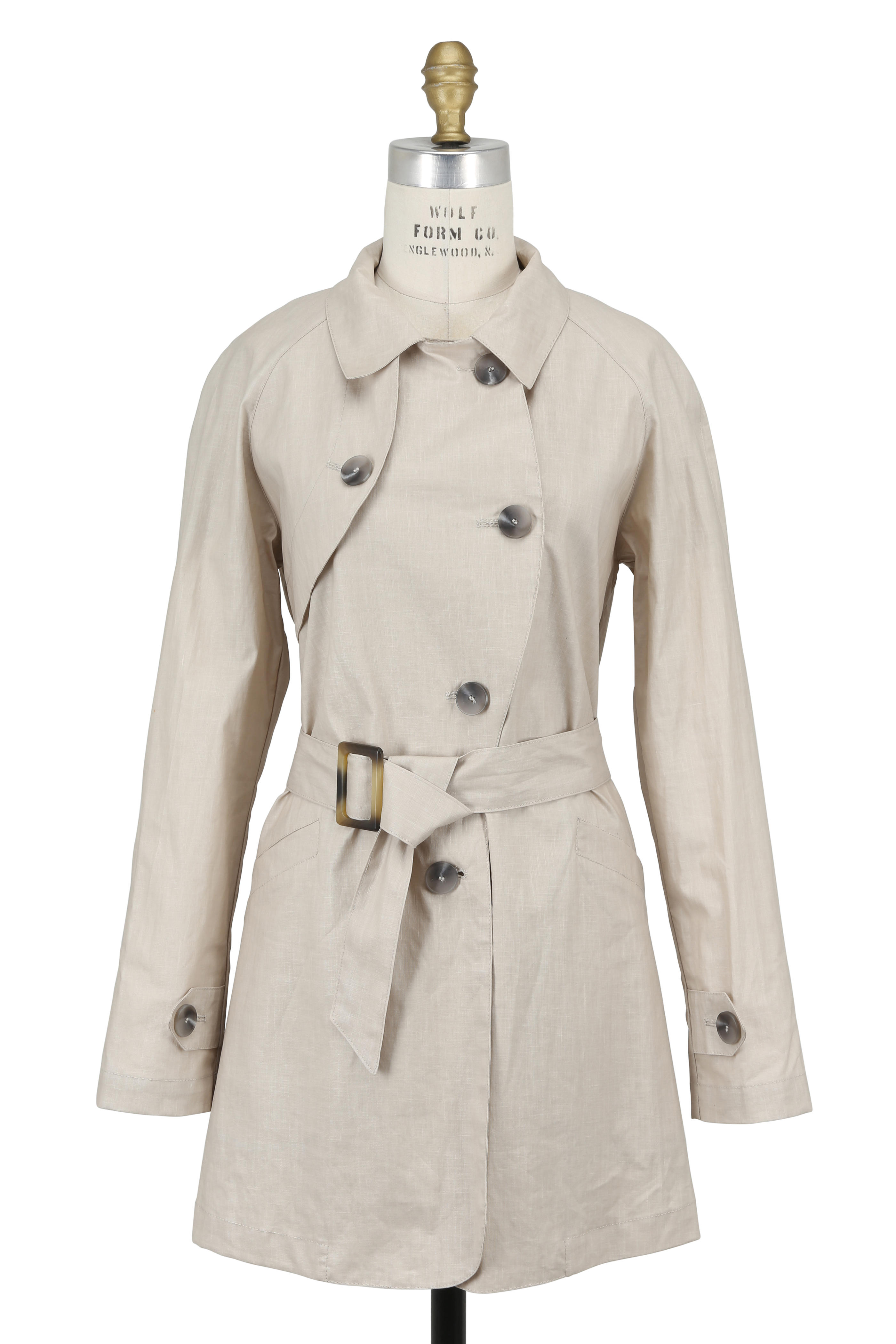 ae9774547 Pret Pour Partir - Krystal Tan Coated Linen Trench Coat With Hat ...