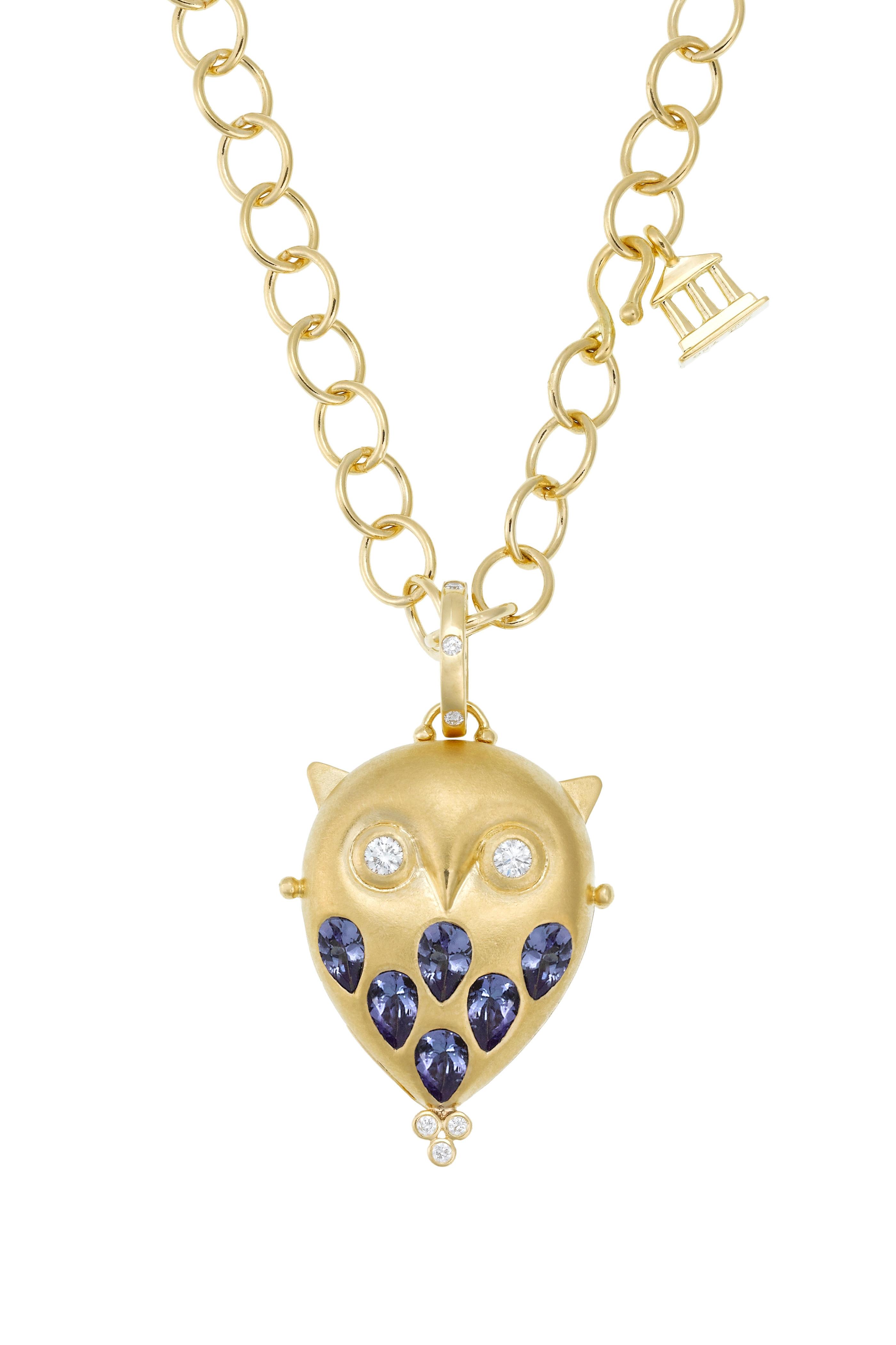 Temple St  Clair - 18K Gold Tanzanite & Diamond Owl Locket