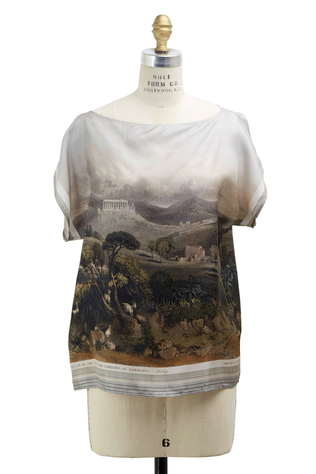 White Silk Landscape Top