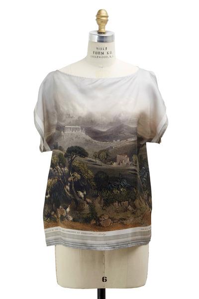 Dolce & Gabbana - White Silk Landscape Top