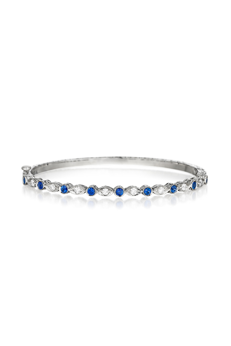 White Gold Marquise Blue Sapphire Diamond Bangle