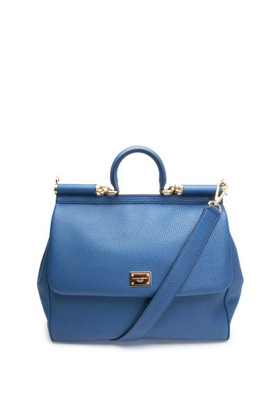 Dolce & Gabbana - Miss Sicily Royal Blue Leather Large Satchel