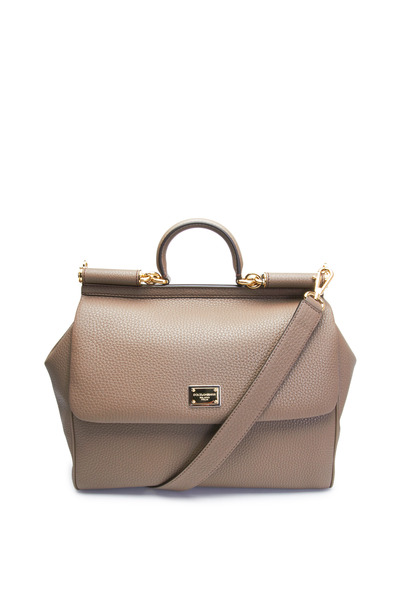 Dolce & Gabbana - Miss Sicily Elephant Gray Leather Large Satchel