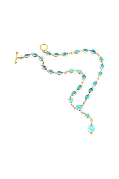 Temple St. Clair - 18K Yellow Gold Blue Moonstone& Diamond Y Necklace