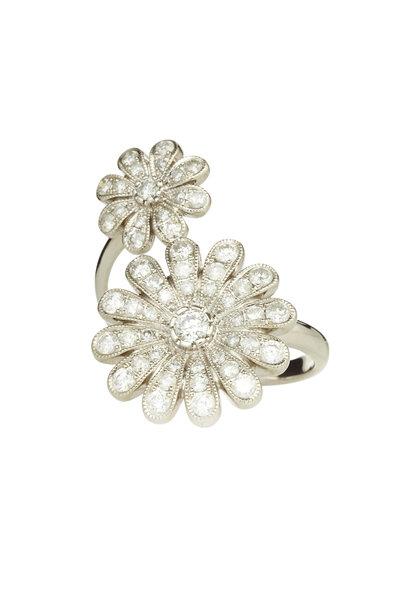 Nam Cho - 18K White Gold Diamond Double Daisy Ring