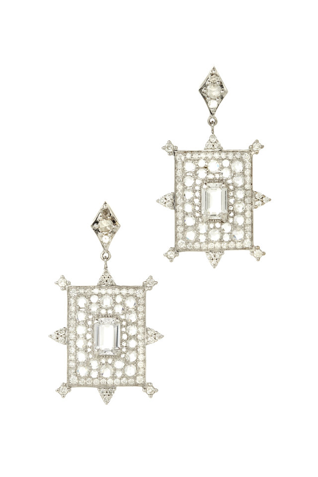 White Gold White Sapphire & Diamond Earrings