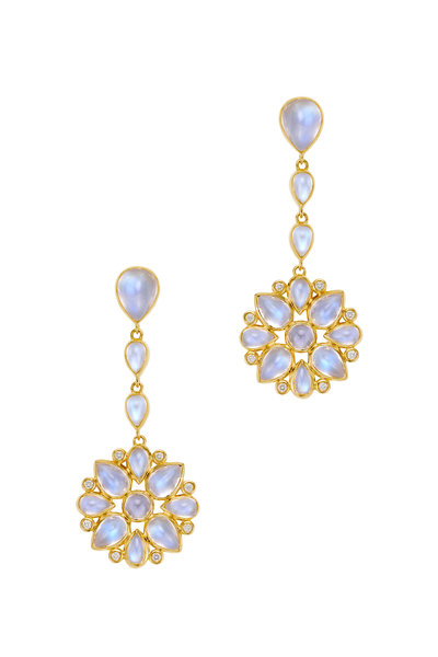 Temple St. Clair - 18K Gold Moonstone & Diamond Drop Earrings