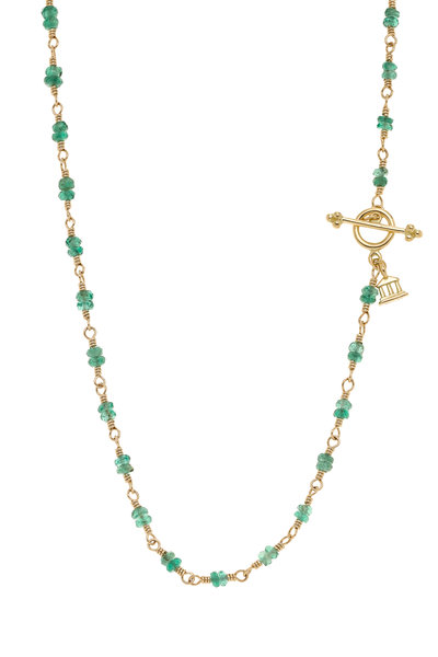 Temple St. Clair - 18K Yellow Gold Emerald Double Bead Necklace