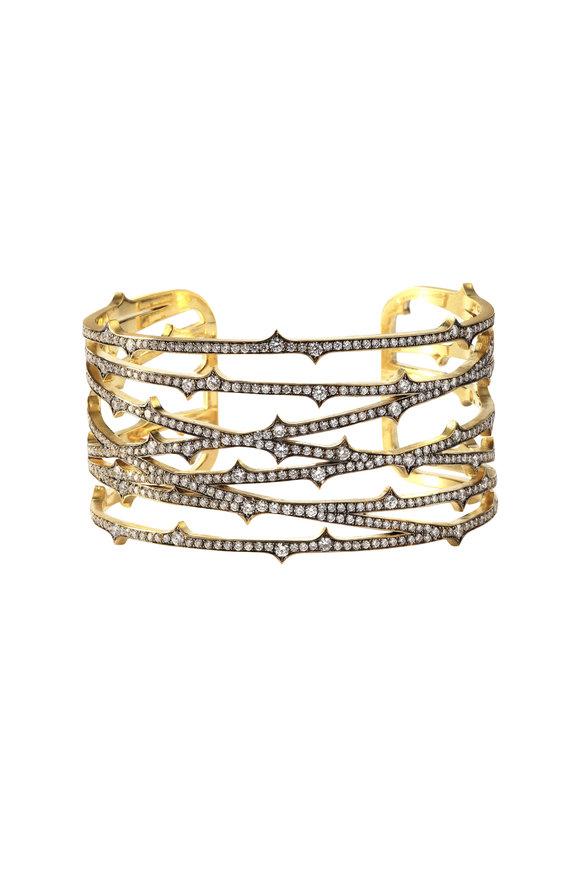 Sylva & Cie 18K Yellow Gold & Diamond Thorn Cuff Bracelet