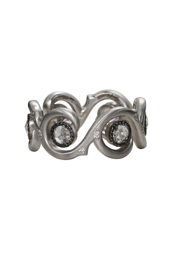 Sylva & Cie 18K White Gold Diamond Wave Ring