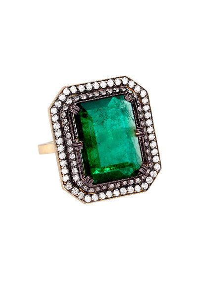 Sylva & Cie - 18K Yellow Gold Emerald & Diamond Ring