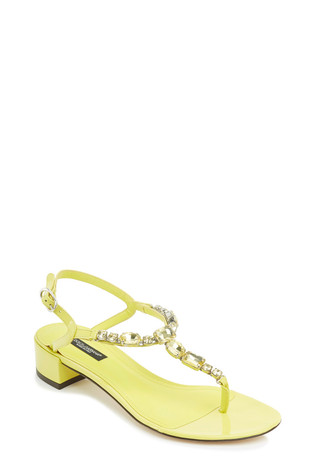 Yellow Patent Leather Crystal Thong Sandals