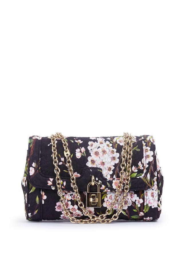 Black Floral Brocade Fabric Shoulder Bag