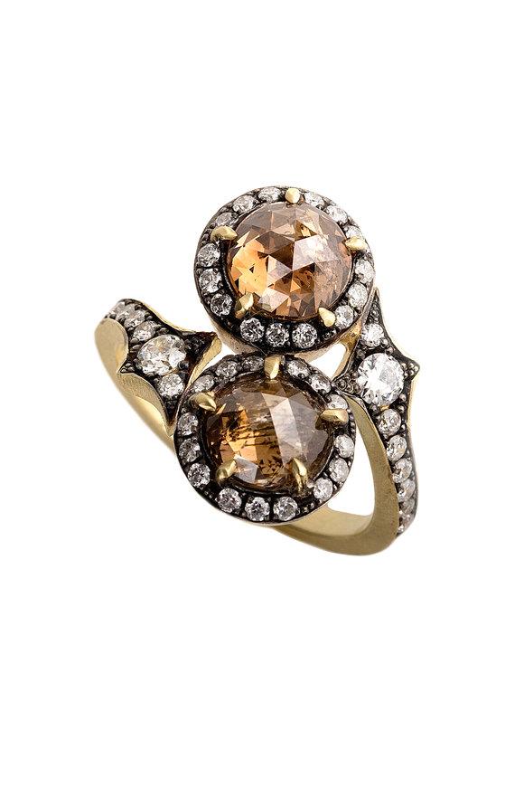 Sylva & Cie 18K Yellow Gold & Silver Champagne Diamond Ring