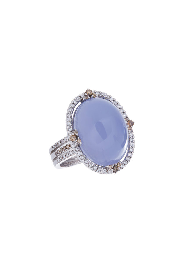 18K White Gold Chalcedony & Diamond Ring