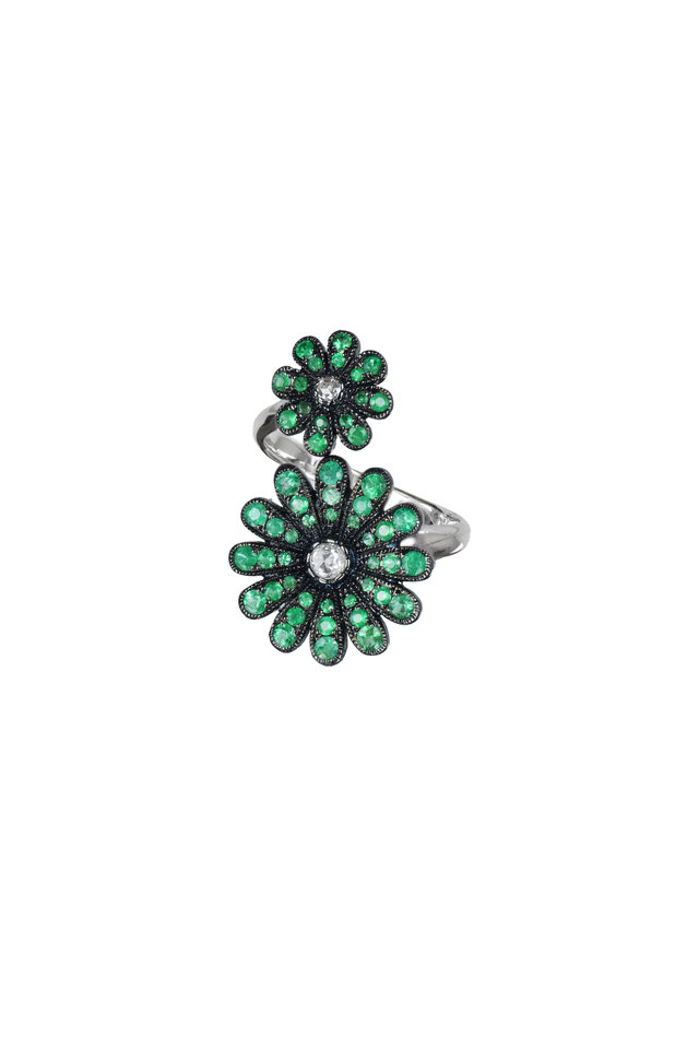 White Gold Emerald Diamond Double Daisy Ring