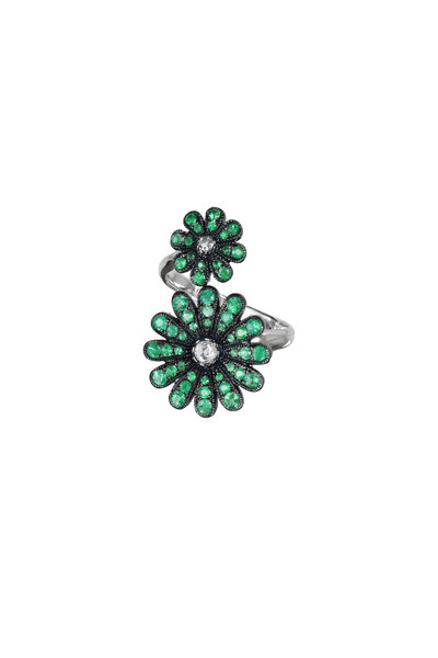 Nam Cho - White Gold Emerald Diamond Double Daisy Ring