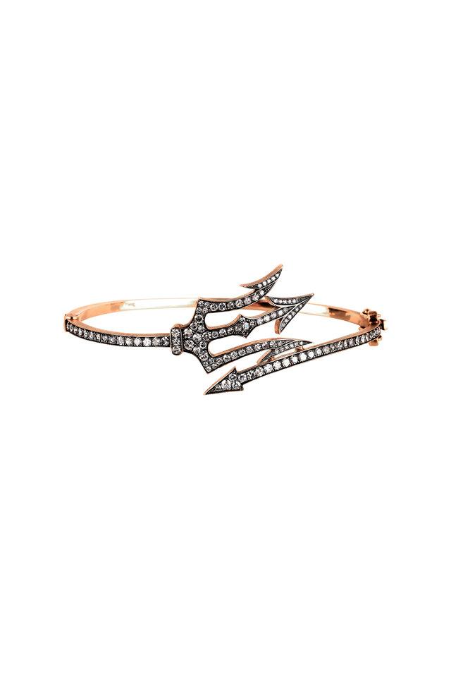 14K Rose Gold Diamond Trident Bangle