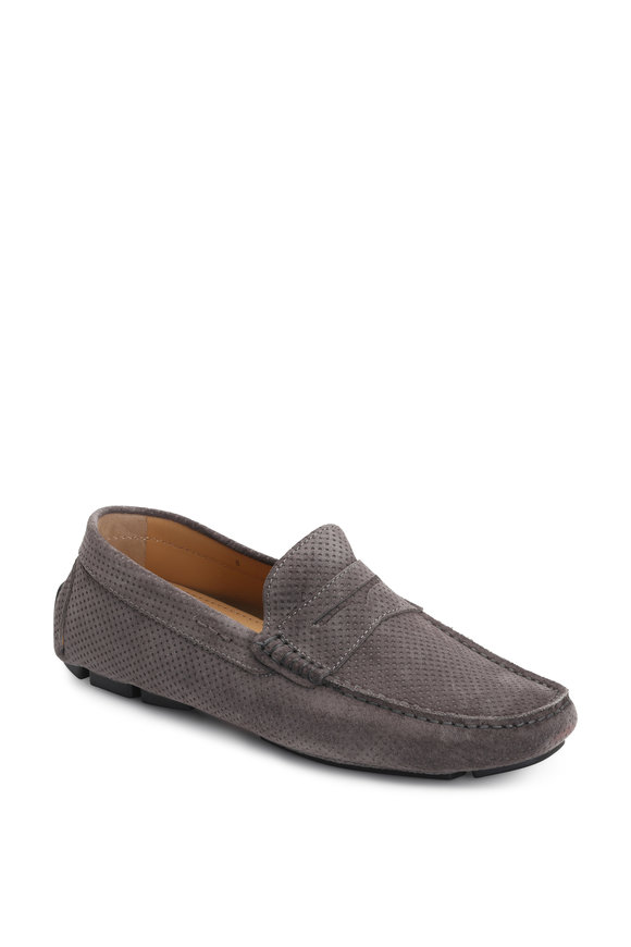 Kiton Gray Perforated Suede Loafer