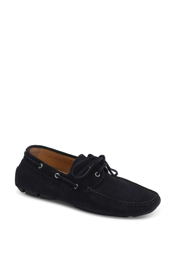 Kiton Navy Blue Perforated Suede Driver