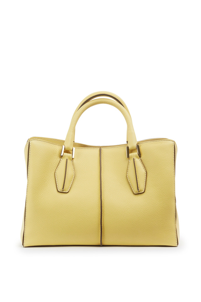 Yellow Textured Leather Small D Cube Handbag