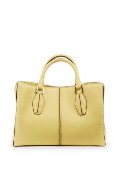 Tod's - Yellow Textured Leather Small D Cube Handbag
