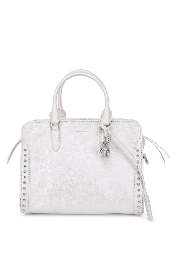 Alexander McQueen Padlock Pearl White Small Satchel