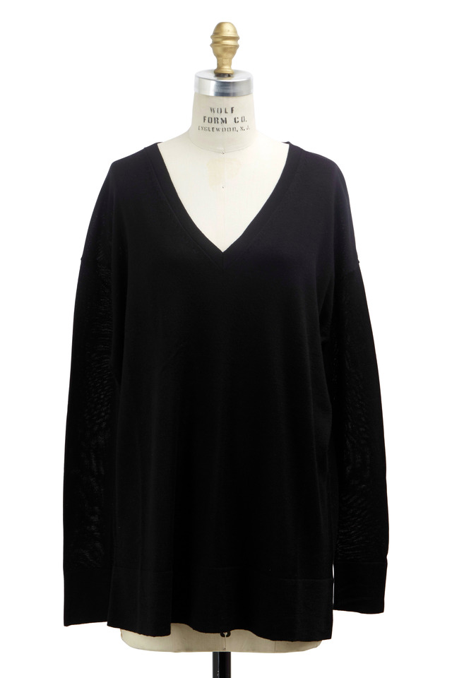 Amherst Black Cashmere & Silk Sweater