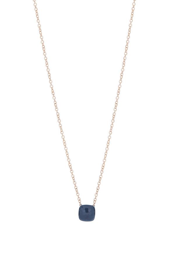 Pomellato 18K White Gold Blue Topaz Necklace