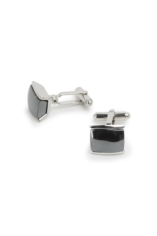 Sterling Silver Hematite Cuff Links