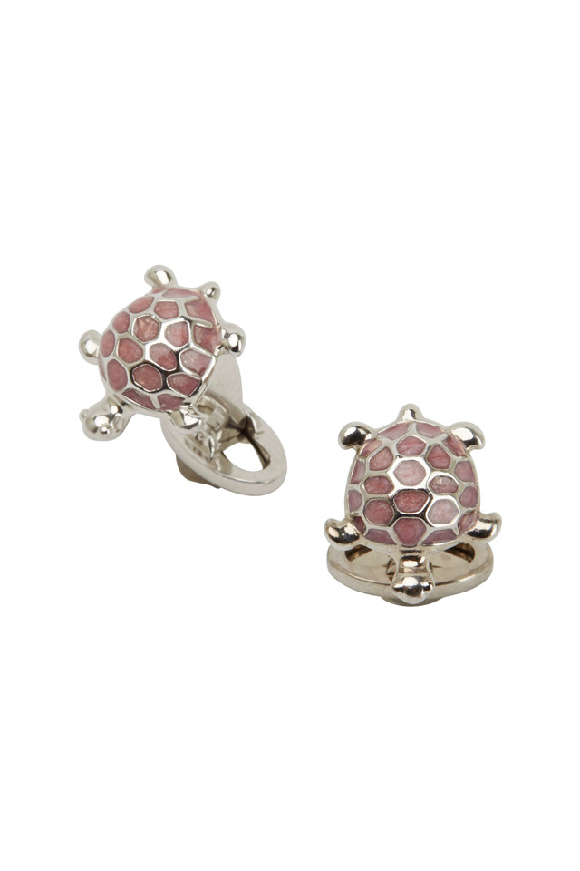 Sterling Silver Pink Turtle Cuff Links