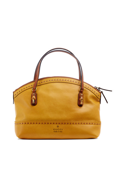 Gucci - Laidback Crafty Yellow Leather Dome Satchel