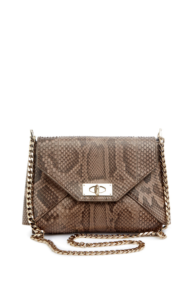 Shark Python Leather Chain Shoulder Bag