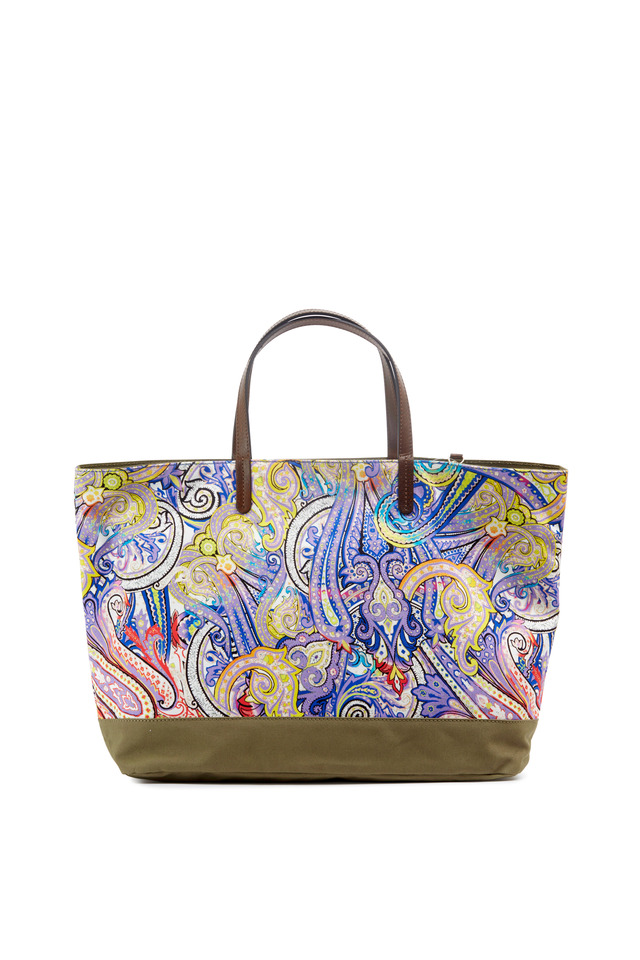 Blue Paisley Canvas Reversible East/West Tote