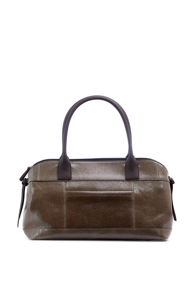 Signature Taupe Cracked Leather Large Zip Satchel