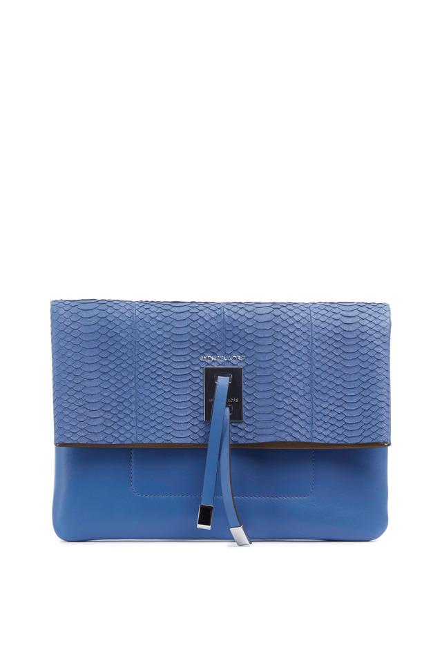 Miranda Blue Snakeskin Clutch