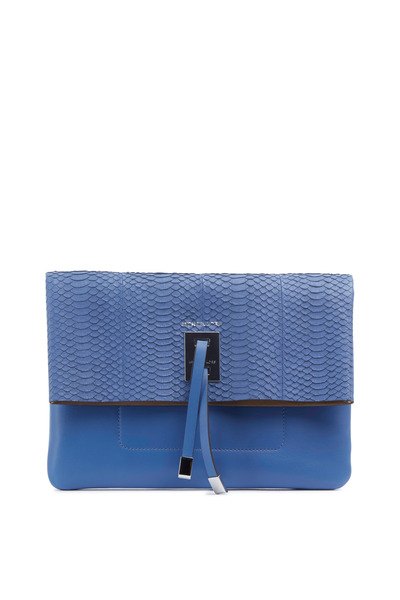 Michael Kors Collection - Miranda Blue Snakeskin Clutch