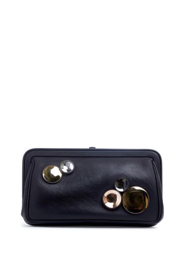Madras Chiaroscuro Black Leather Clutch